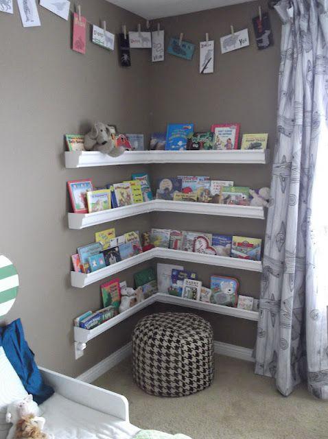 Book Shelves made out of a rain gutter