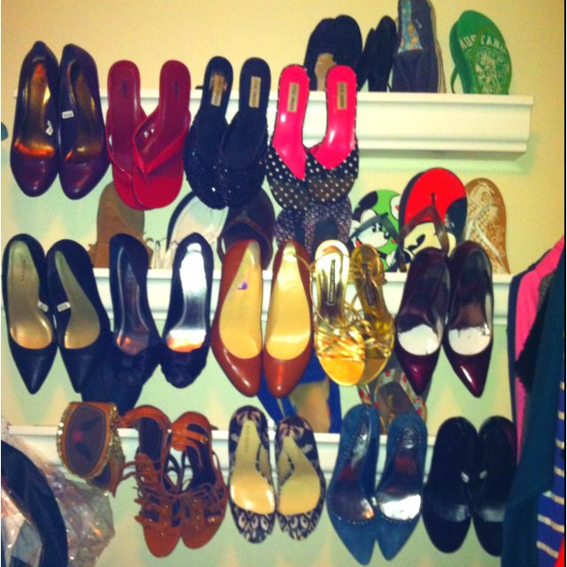 Store your shoes in a repurposed rain gutter
