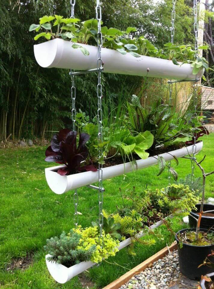 Use a rain gutter to make a Vertical Garden